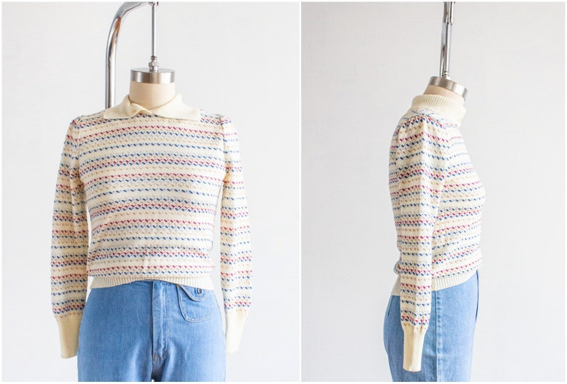 Puff Sleeve Sweater Small Vintage 80s Striped Rainbow image 0