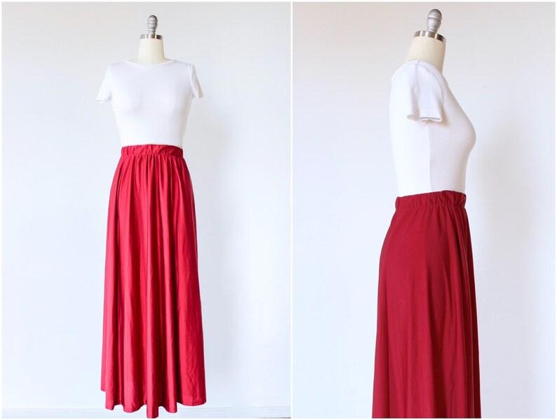 Maxi Skirt Small Full Length High Waist 1970s Vintage image 0