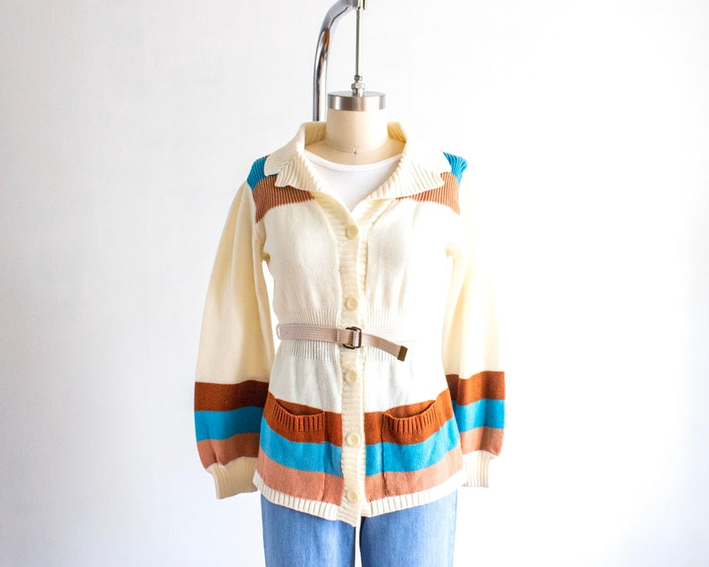Striped Cardigan Sweater 70s Vintage Belted Button Down image 0