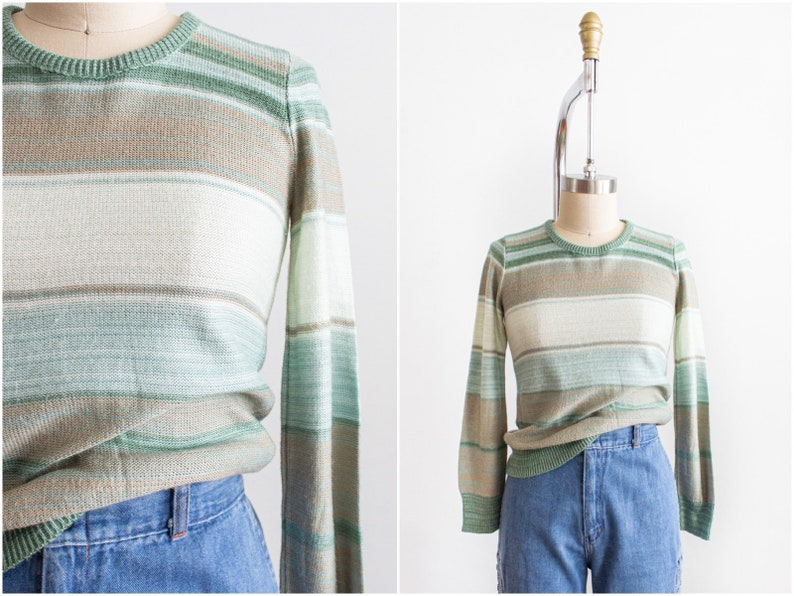 Space Dyed 70s Knit Pullover Extra Small-Small Striped Sage image 0