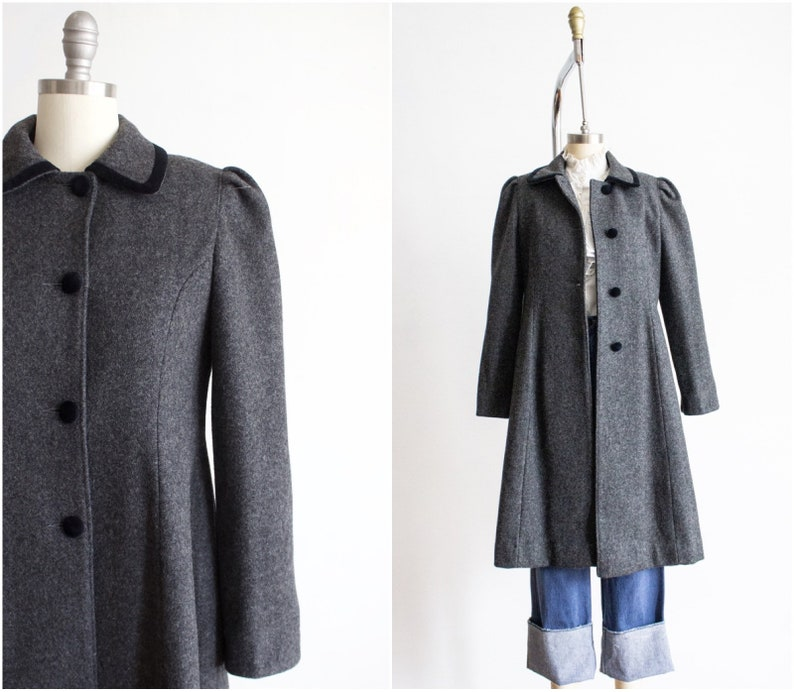 Wool Coat Size Small Puffed Sleeves Grey Gray True image 0
