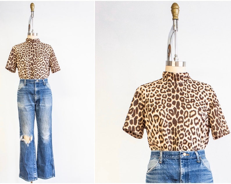 Leopard Print Mock Neck Blouse Medium Short Sleeves 80s image 0