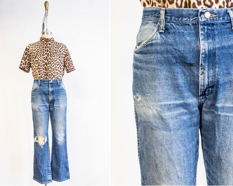 Thrashed Jeans Size 10 32 Waist Vintage Rustlers Denim image 0