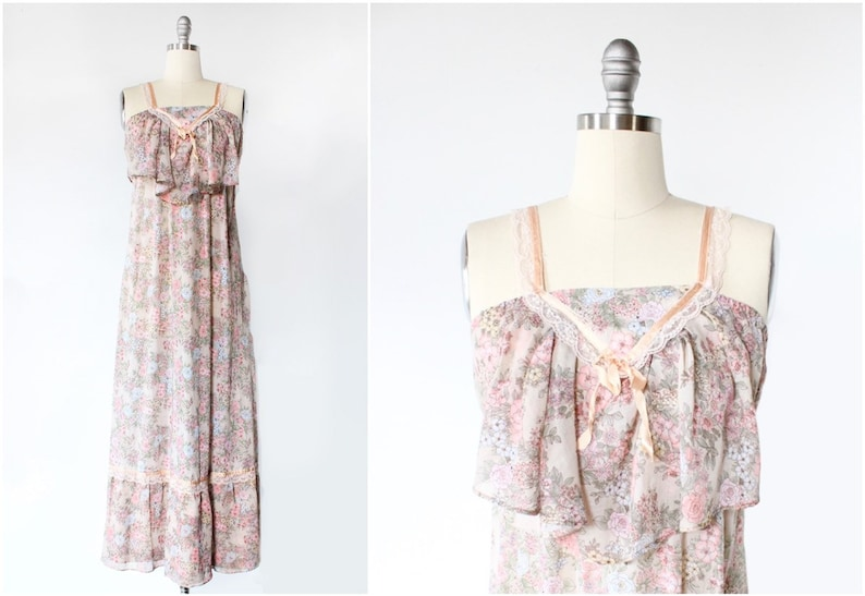 1970s Maxi Dress Size 4 6 8 Prairie Floral Print Empire image 0