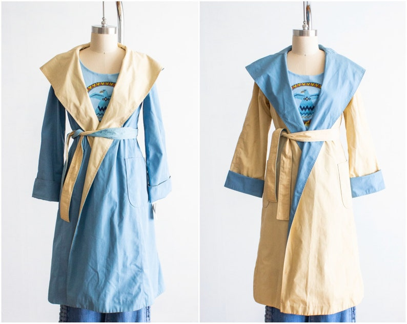 Hooded Wrap Style Trench Coat Reversible Deadstock/NOS Size image 0