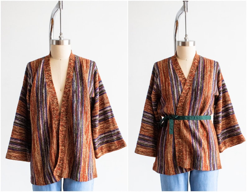 Open Front Sweater Earth Tones 70s Space Dyed Cardigan Size image 0