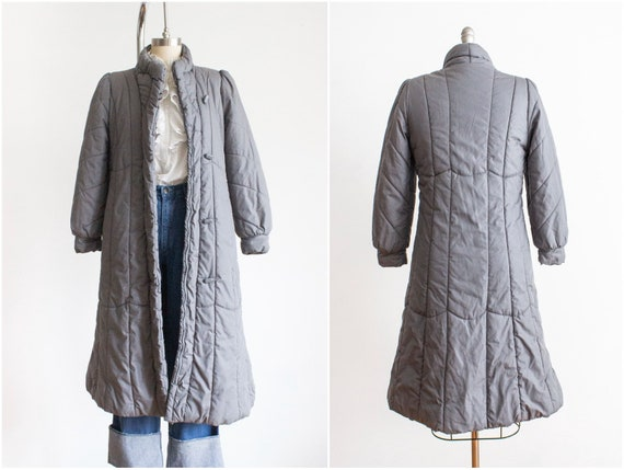 Vintage Gray Puffer Coat, Size Small, Full Length,