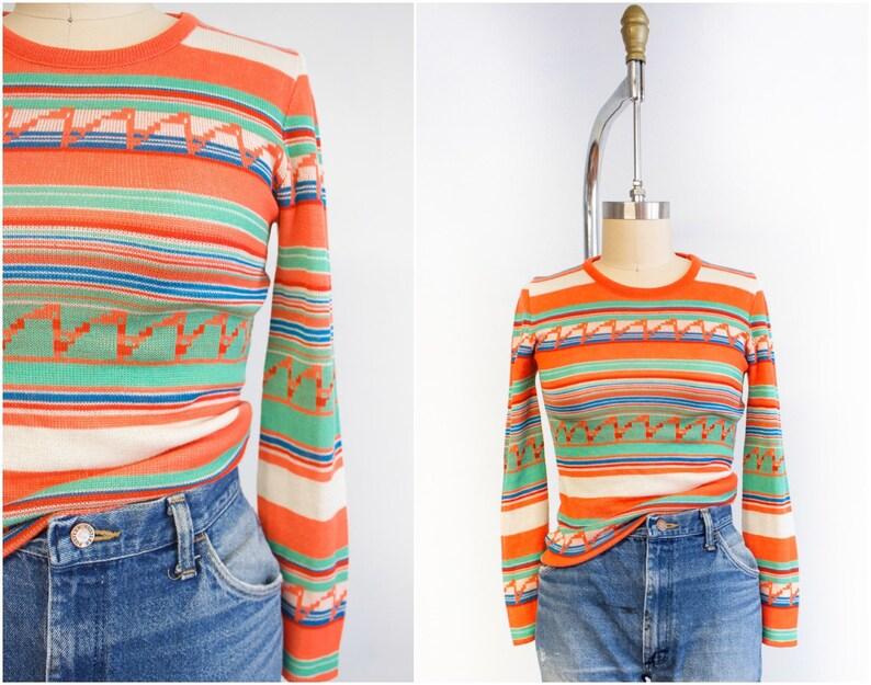 Striped Pullover Size Small-Medium Citrus Tones Orange image 0