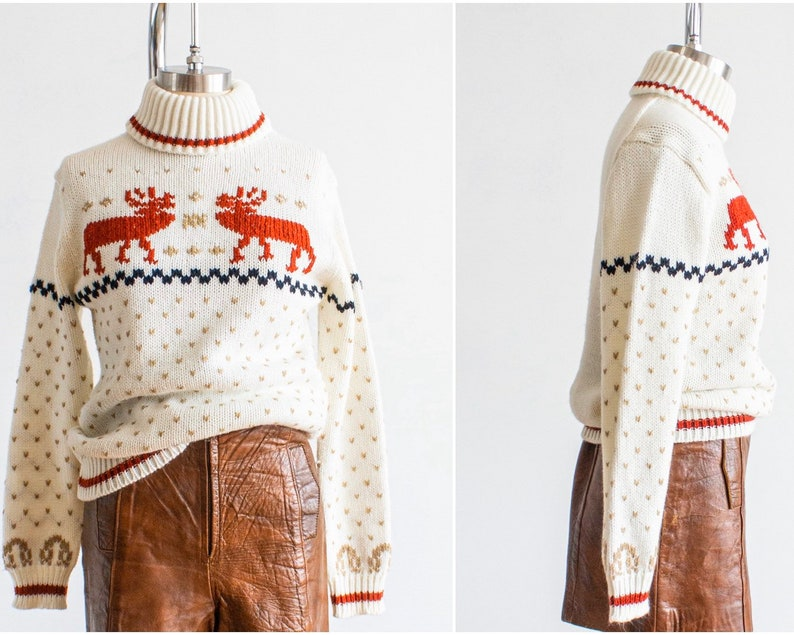 Turtleneck Sweater Small-Medium 70s Thick Knit Reindeer & image 0
