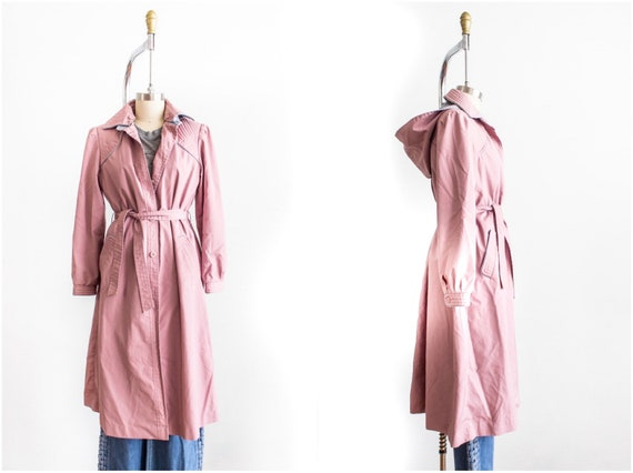 Trench Coat, Medium, Belted, Hood, Dusty Rose, Sin