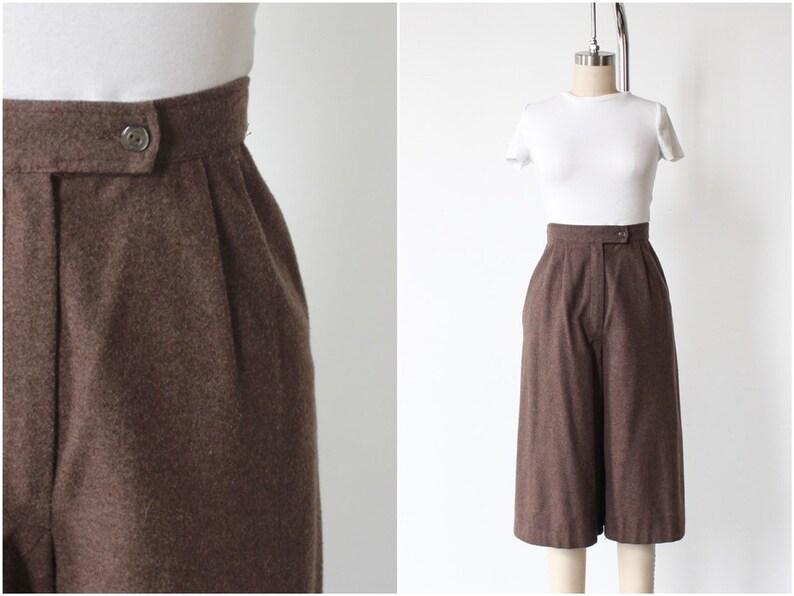Wool Shorts Culottes Palazzo High Waisted Wide Leg image 0