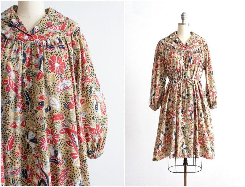 Batik Print 70s Dress Medium  Large 8 10 12 14 Belted image 0