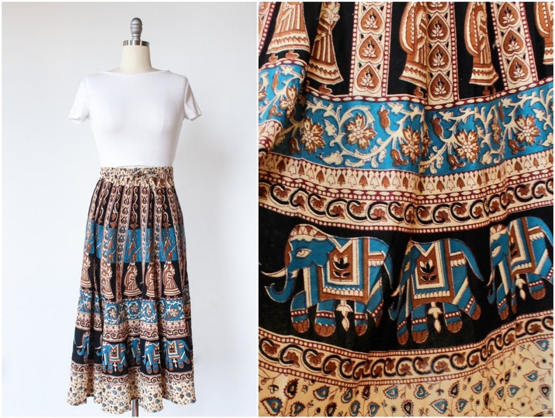 70s Indian Cotton Skirt Elephant Print Maxi Skirt Small  image 0