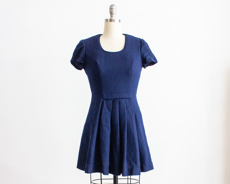 Navy Blue Wool Fit n Flare Skater Mini Dress Size Small 4 image 0