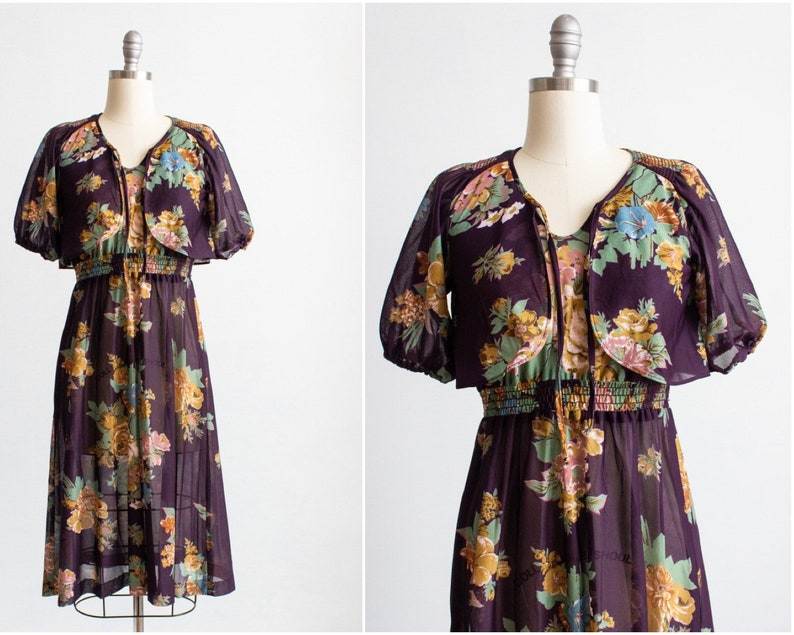 Dark Floral Dress 70s Extra Small-Small Size 2 4 6 Young image 0