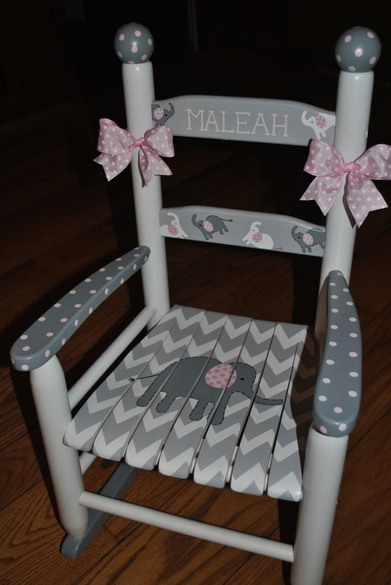 Handpainted Rocking Chair Kids Rocking Chairs Rocking Chair Nursery Furniture Baby Shower Toddler Gift Chevron Pink Elephant Girls