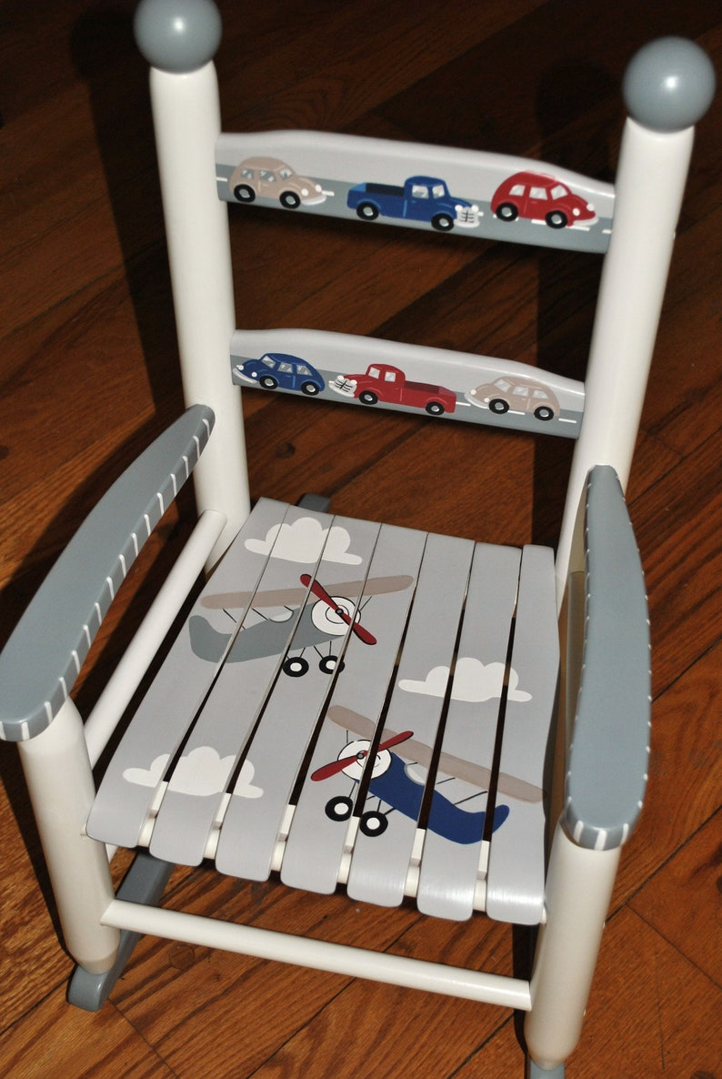 Handpainted Rocking Chair Kids Rocking Chairs Rocking Chair Nursery Furniture Baby Shower Toddler Gift Airplanes Cars Trucks