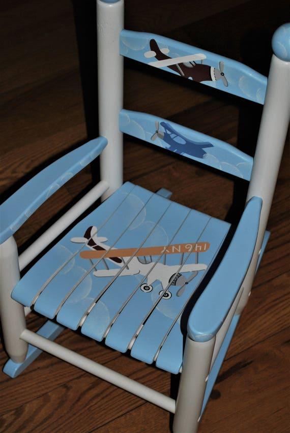 Pleasing Handpainted Rocking Chair Kids Rocking Chairs Rocking Chair Rocker Nursery Furniture Baby Shower Toddler Gift Airplane Vintage Boys Machost Co Dining Chair Design Ideas Machostcouk