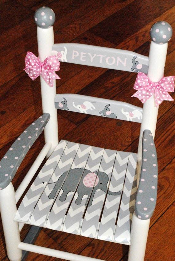Prime Handpainted Rocking Chair Kids Rocking Chairs Rocking Chair Nursery Furniture Baby Shower Toddler Gift Chevron Pink Elephant Girls Dailytribune Chair Design For Home Dailytribuneorg