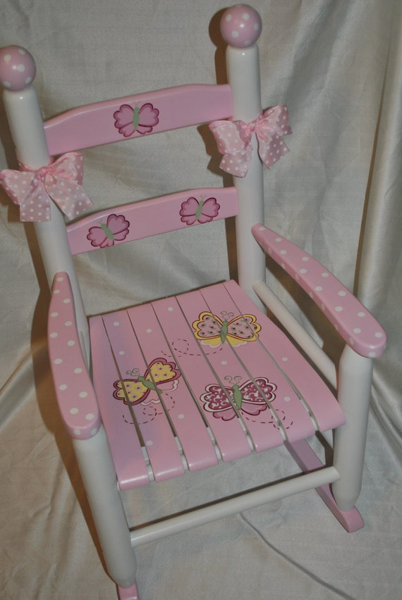 Pleasant Handpainted Rocking Chair Kids Rocking Chairs Rocking Chair Rocker Nursery Furniture Baby Shower Toddler Gift Whimsical Pink Butterfly Theyellowbook Wood Chair Design Ideas Theyellowbookinfo