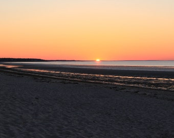 Sunset Photography, Cape Cod Photography, Beachscape,  Nature Photography, Wall Art, Home Decor, Crosby Beach, Brewster, Massachusetts, Bay