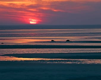 Sunset Photography, Cape Cod Photography Beach scape, Nature, Coastal, Sky, Landscape, Wall Art, Home Decor, Skaket Beach, Orleans MA