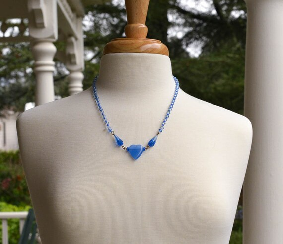 Heart Necklace with Pearls and Blue Czech Glass