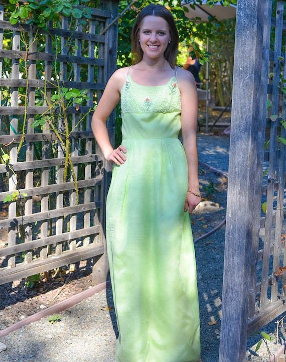 Prom Dress, 1960s Beaded Formal Dress, Rosebuds