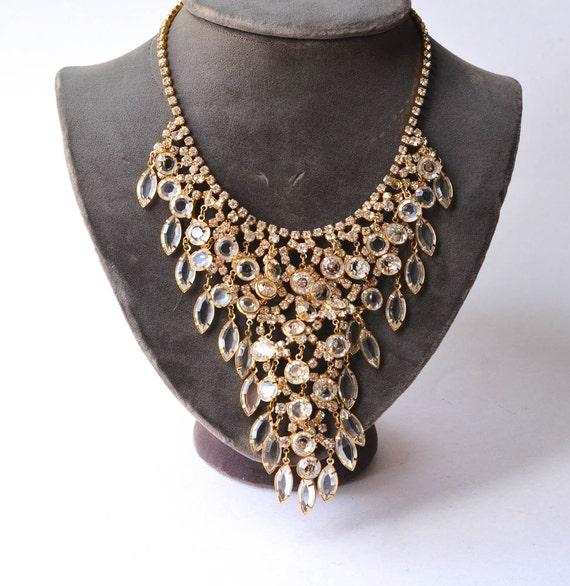Crystal Bib Necklace, Statement Necklace
