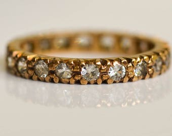 Rose Gold and Spinel Ring, Eternity Ring, 9K Gold Ring, Diamond Alternative, Size 5