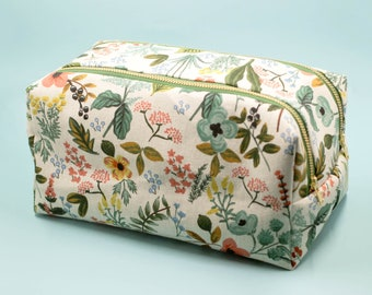 large cosmetic case, floral toiletry case, double zip makeup bag, travel toiletry pouch, rifle paper zipper pouch, mothers day gift under 40