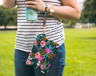 floral wristlet clutch bag, rifle paper co wristlet strap, wristlet wallet for women, wristlet purse floral, bridesmaid gift for her