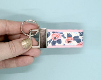 mini key fob, mom gift under 10, rifle paper co keychain, floral keychain, thumb fob, mini rosa keychain, mothers day gift, womens key fob