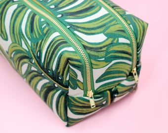 rifle paper co cosmetic case, large toiletry case, tropical makeup bag, travel toiletry pouch, monstera zipper pouch, mothers day gift