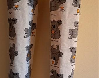 Handmade banner tea towel with Australia grey Koala green banner bridal shower gift for Aussies friend gift Australia gift cotton fabric