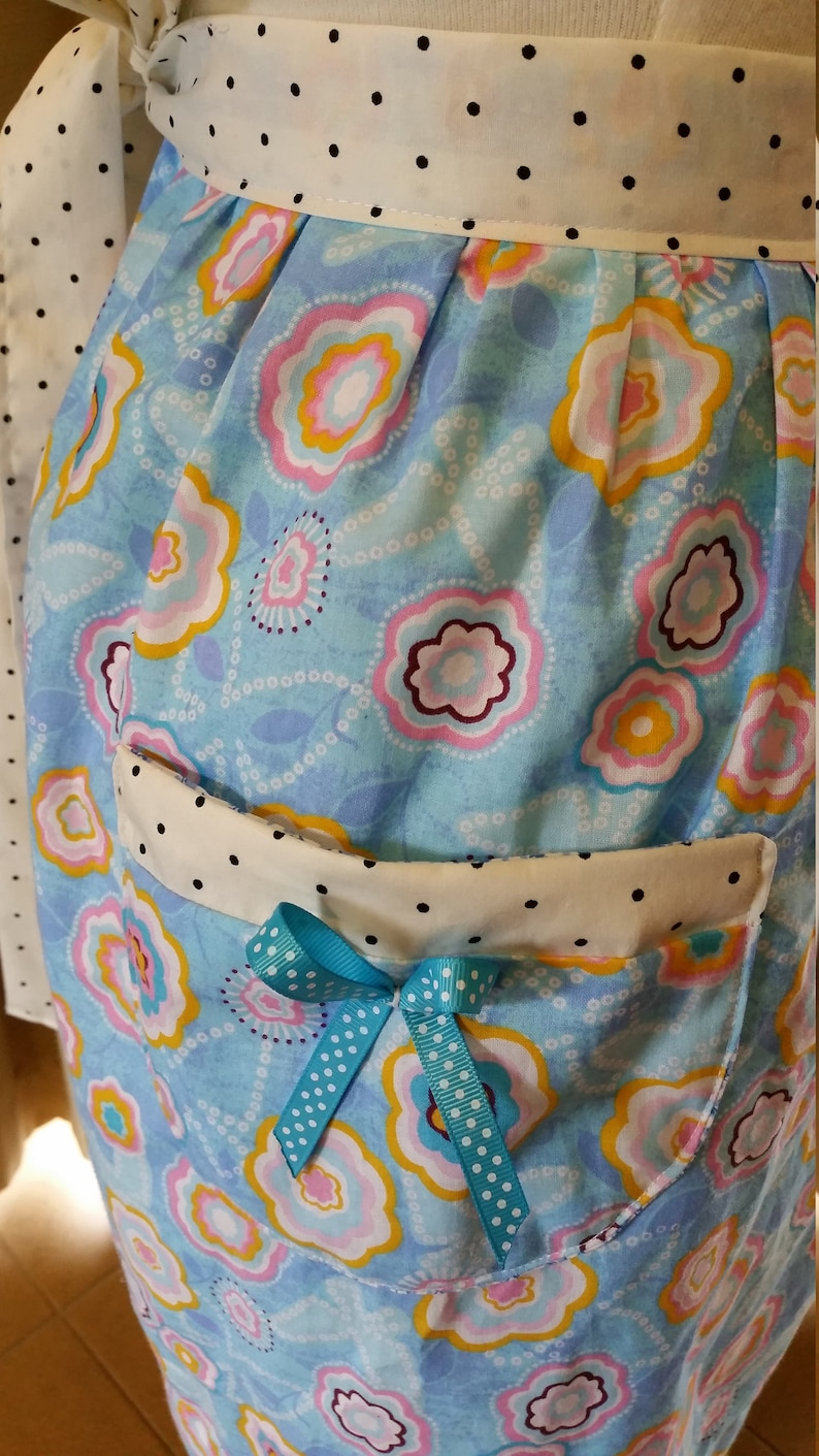Vintage inspired half apron blue retro floral print with polka dots strap and pocket with bow Ready to ship