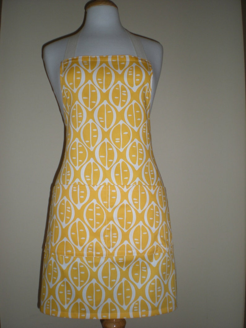 Unisex Apron His or Hers citrus yellow lemon print Barbecue apron with two large pockets one narrow pocket cotton drill kitchen tea gift
