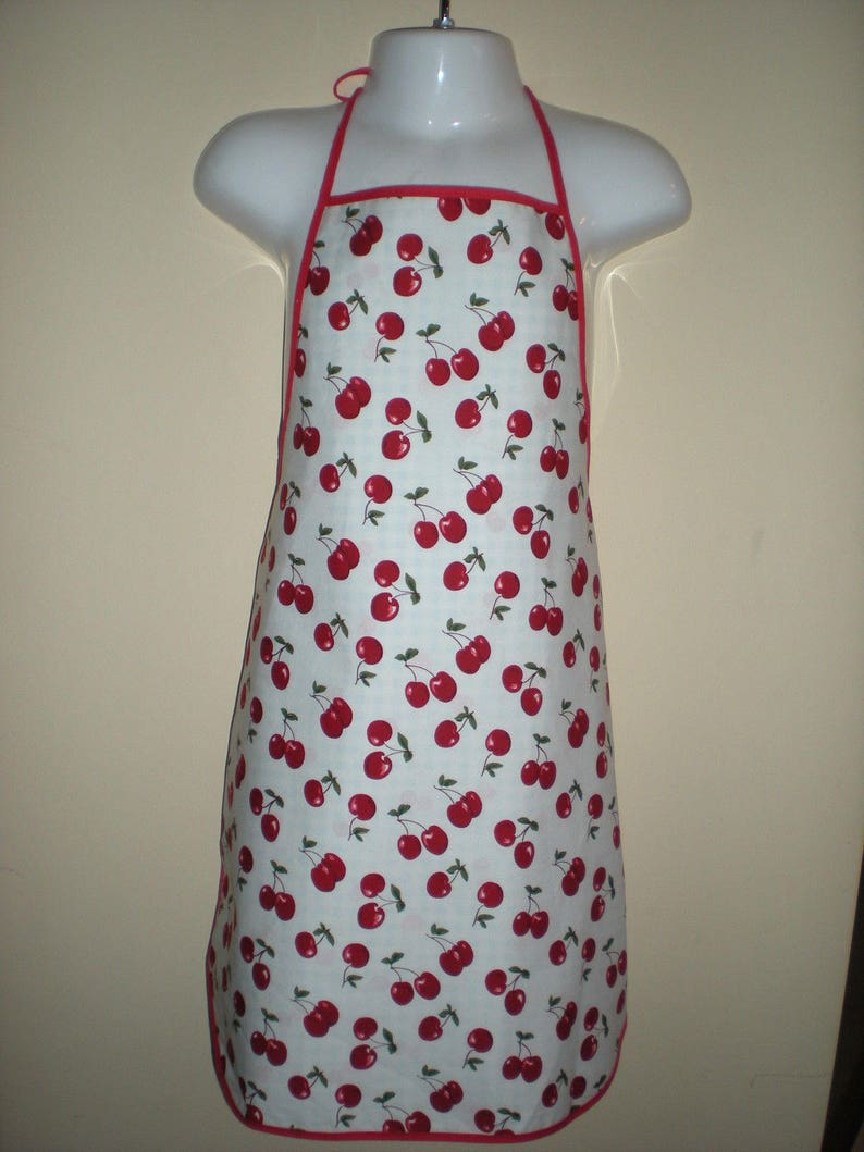 Childrens cute and adorable reversible full length apron for kids cherry checkered prints ages 5-7