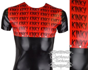 Latex rubber KINKY print T-shirt by Cathouse Clothing WRUB984