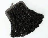 Vintage ANTIQUE Victorian Black Beaded Purse GERMAN SILVER Frame