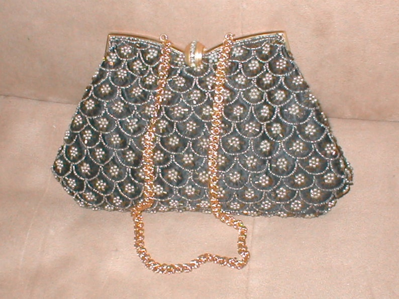 Vintage black   ivory pearl Beaded Evening Purse made in  4ad484ce2c5aa