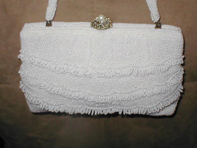 Vintage 1940 s White Beaded Evening Bag Purse  6c8754f95e0e9
