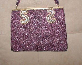 Vintage Dark Purple Plum Beaded Evening Bag Purse made in Paris