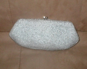 Vintage Silvery Blue Beaded Evening Clutch Purse