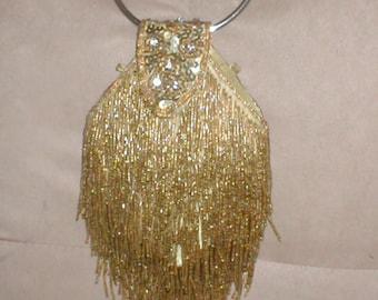 Vintage GOLD Beaded Fringe Evening Bag Purse