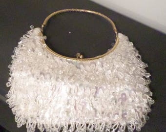 Vintage White Crystal Chandelier-Beaded Evening Purse
