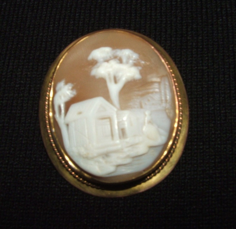 AntiqueRebecca at the Well Cameo Brooch
