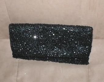 Vintage BLACK Beaded Clutch Purse