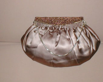 RARE 1940's coco-brown Silk Satin Evening Purse