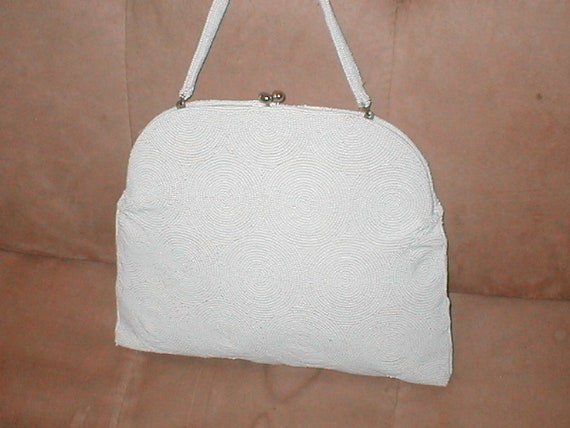 LARGE Vintage 1940 s White Beaded Evening Bag Purse by  97f83c69ae343